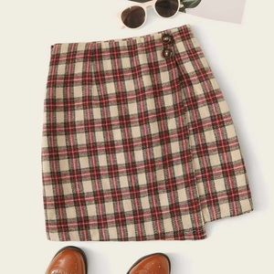 SHEIN / Tartan Button Wrap Skirt